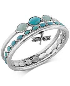 Lucky Brand Bracelet Set, Silver-Tone Turquoise Dragonfly Bangle Bracelets
