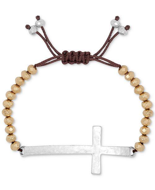 Lucky brand two tone cross pendant beaded bracelet fashion jewelry main image aloadofball Gallery
