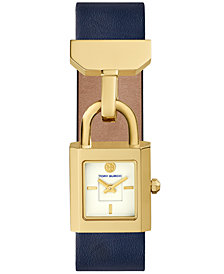 Tory Burch Women's Surrey Blue Leather Strap Watch 22x24mm