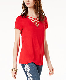 I.N.C. Petite Short-Sleeve Lattice Top, Created for Macy's