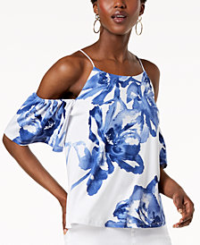 I.N.C. Petite Cold-Shoulder Printed Top, Created for Macy's