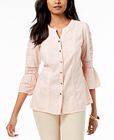 JM Collection Petite Cotton Embroidered Shirt, Created for Macy's