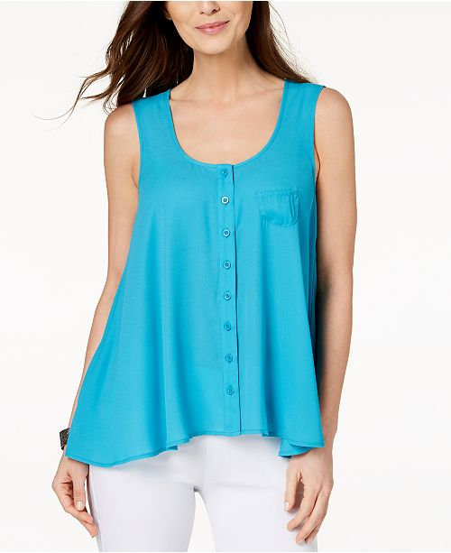 Macy's Petite Co Lake Teal amp; Front Button for Style Blouse Created 1876W5WOq