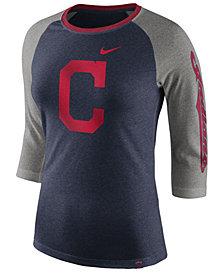 Nike Women's Cleveland Indians Tri-Blend Raglan T-Shirt
