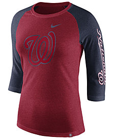 Nike Women's Washington Nationals Tri-Blend Raglan T-Shirt