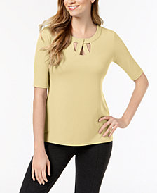 JM Collection Petite Lattice-Twist Elbow-Sleeve Top, Created for Macy's