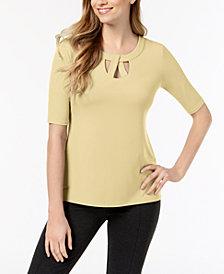 JM Collection Petite Lattice-Twist Elbow-Sleeve Top, Created for Macy's