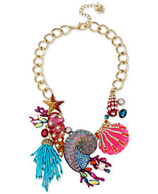 "Betsey Johnson Gold-Tone Crystal, Stone, Bead & Imitation Pearl Seashell Statement Necklace, 16-1/2"" + 3"" extender"