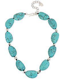 "Robert Lee Morris Soho Silver-Tone Colored Stone Collar Necklace, 17-1/2"" + 3"" extender"