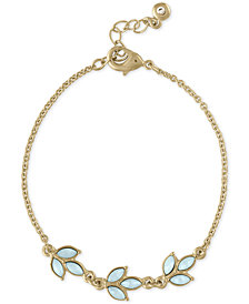 RACHEL Rachel Roy Gold-Tone Colored Stone Leaf Flex Bracelet