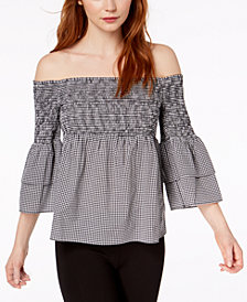 Bar III Off-The-Shoulder Gingham Top, Created for Macy's