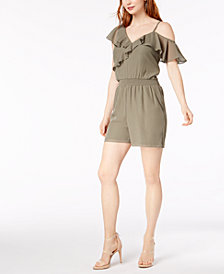 Bar III One-Shoulder Ruffle Romper, Created for Macy's