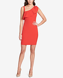 GUESS Asymmetrical Ruffle Bodycon Dress