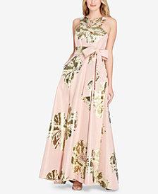 Tahari ASL Metallic Floral-Print Gown