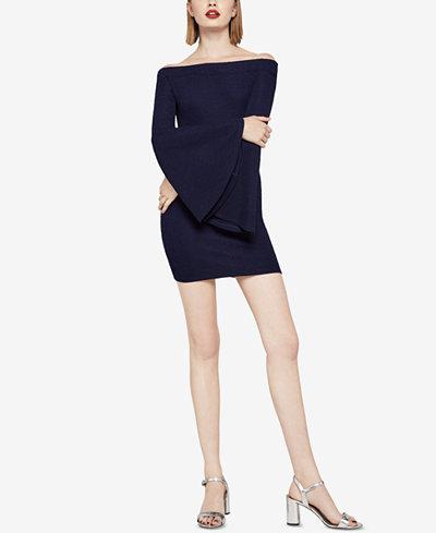 BCBGeneration Off-The-Shoulder Bell-Sleeve Sheath Dress