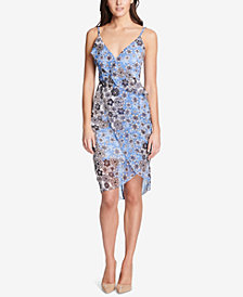 GUESS Printed Ruffle Chiffon Wrap Dress
