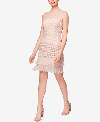 Betsey Johnson Geo-Lace Chiffon Sheath Dress