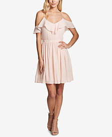 GUESS Ruffled Cold-Shoulder Fit & Flare Dress