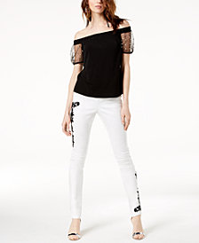 I.N.C. Off-The-Shoulder Top & Embroidered Skinny Jeans, Created for Macy's