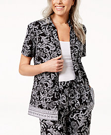 Karen Scott Petite Paisley-Print Blouse, Created for Macy's