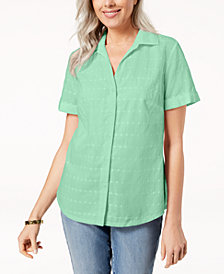 Karen Scott Petite Cotton Embroidered Shirt, Created for Macy's