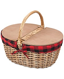 Country Red & Black Buffalo Plaid Picnic Basket