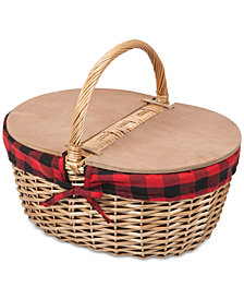 Picnic Time Country Red & Black Buffalo Plaid Picnic Basket
