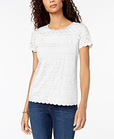 Petite Lace Scalloped-Hem Top, Created for Macy's