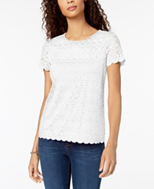 Charter Club Scalloped Lace Top, Created for Macy's
