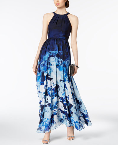 Betsy & Adam Petite Floral-Print Halter Gown
