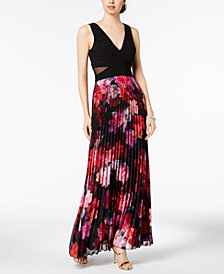 XSCAPE Pleated Floral-Print Gown, Regular Sizes