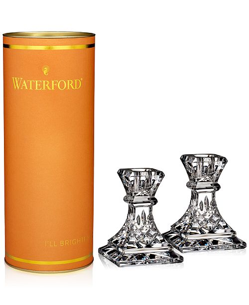 "Waterford Giftology Lismore 4"" Candlestick Pair"