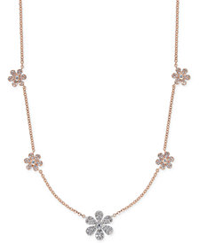 "Diamond Pavé Flower Statement Necklace (1/2 ct. t.w.) in 14k Rose & White Gold, 17"" + 1"" extender"