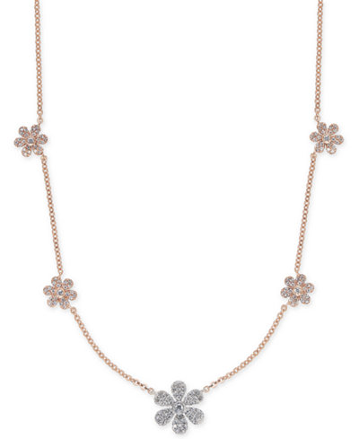 Diamond Pavé Flower Statement Necklace (1/2 ct. t.w.) in 14k Rose & White Gold, 17