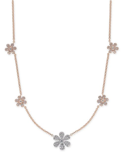 Macys diamond pav flower statement necklace 12 ct tw in 14k main image mightylinksfo