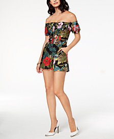 GUESS Printed Off-The-Shoulder Romper