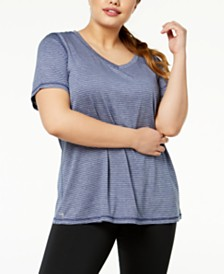Ideology Plus Size Striped T-Shirt, Created for Macy's