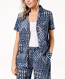 Karen Scott Petite Printed Short-Sleeve Shirt, Created for Macy's