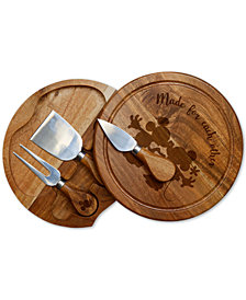 Picnic Time Mickey & Minnie Mouse Acacia Brie Cheese Board & Tools Set