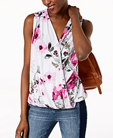 I.N.C. Floral-Print Surplice-Neck Top, Created for Macy's