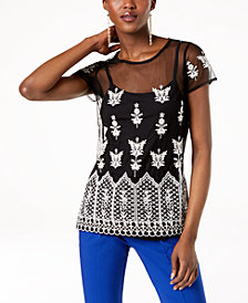I.N.C. Embroidered Sheer Top, Created for Macy's