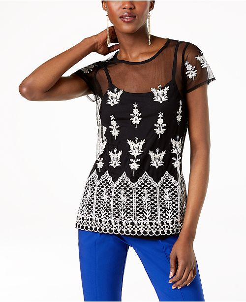 Macy's Concepts INC Black Sheer International for Top Embroidered N Created I C SqvFx5gwTq