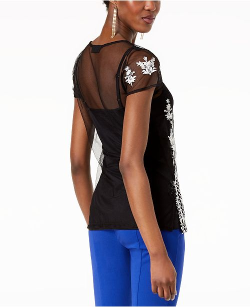 Sheer Macy's Black Embroidered I Created N International Top INC C for Concepts qZvExY