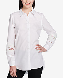Calvin Klein Sheer-Lace-Sleeve Cotton Blouse