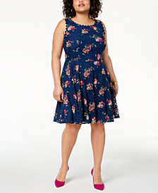 City Studios Trendy Plus Size Printed Lace Fit & Flare Dress