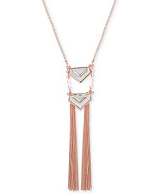 "Guess Rose Gold-Tone Large Crystal and Python-Look Fringe Lariat Necklace, 30"" + 2"" extender"