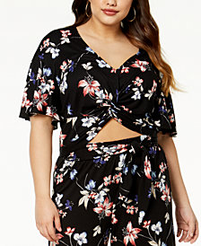 Soprano Trendy Plus Size Printed Knot-Front Cropped Top