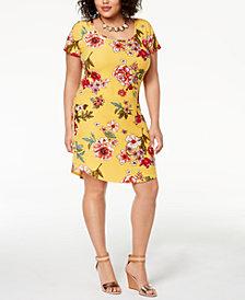 Planet Gold Trendy Plus Size Printed T-Shirt Dress