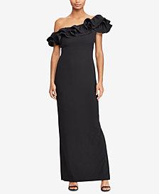 Lauren Ralph Lauren Asymmetrical Ruffled Gown