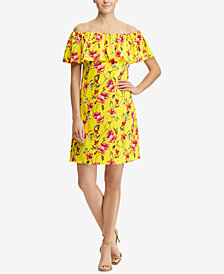 Lauren Ralph Lauren Petite Floral-Print Off-The-Shoulder Dress